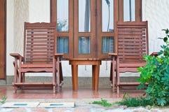 Chais di legno all'aperto Immagini Stock Libere da Diritti