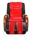 Chaise étendue en cuir noire et rouge de massage Photo libre de droits