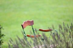 Chaise Antic abandonnée dans le jardin Photographie stock libre de droits
