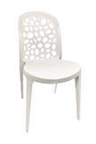 Chaise blanche en plastique d'isolement sur le fond blanc Photo stock