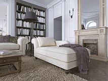 Chaise Chair in klassieke woonkamer met bibliotheek stock illustratie