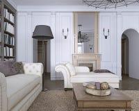 Chaise Chair in klassieke woonkamer met bibliotheek vector illustratie