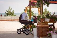 Chaise de bébé, fleurs et la mer Photos libres de droits