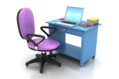 Chaise de bureau et table d'ordinateur Images stock
