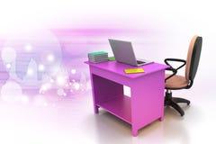Chaise de bureau et table d'ordinateur Photos libres de droits