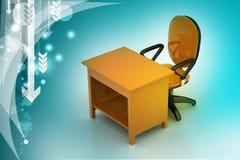 Chaise de bureau et table d'ordinateur Photo libre de droits