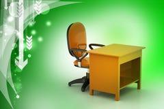Chaise de bureau et table d'ordinateur Photo stock