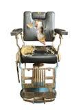 Vieille chaise de coiffeur image stock