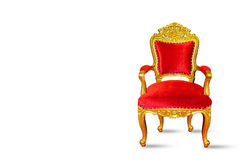 Chaise de luxe rouge et d'or d'isolement sur le fond blanc Images stock
