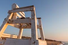 Chaise de maître nageur de plage (del de Guardamar Segura, Espagne) Image stock