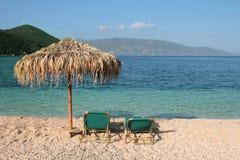 Chaise de plage d'Antisamos Photo stock