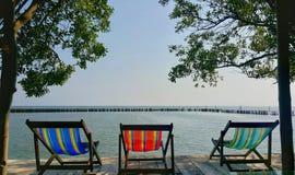 Chaise de plage trois Image libre de droits