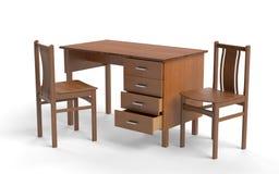Chaise de style ancien et table de bureau illustration stock