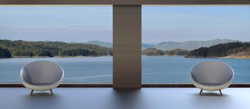 Chaise deux moderne et belle vue de lac Photo stock