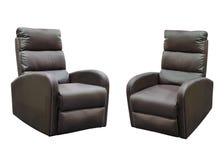 Chaise en cuir de Brown d'isolement sur le fond blanc Photos stock