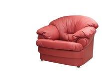 Chaise en cuir rouge d'isolement sur le fond blanc Photo libre de droits