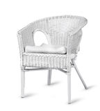Chaise en osier blanche d'isolement Images stock