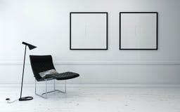 Chaise et lampadaire modernes dans la chambre blanche Images libres de droits