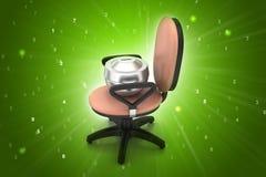 Chaise exécutive avec le récipient d'argent Photo libre de droits