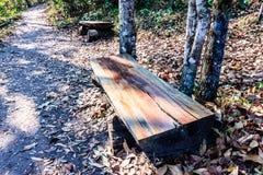 Chaise fabriquée à partir d'identifiez-vous le long Kla parc national de Phu Hin photo stock