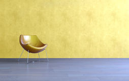 Chaise jaune moderne simple de baquet dans un salon Image libre de droits
