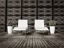 Chaise-longue. Two white chaise longue on a resort royalty free illustration