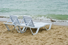 Chaise longue on a beach Stock Photography