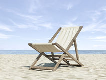 Chaise longue on beach. 3d render royalty free stock photography