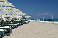 Chaise longue beach. Chaise longue on beach ocean Royalty Free Stock Photo
