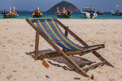 A chaise-longue on the beach Royalty Free Stock Photo