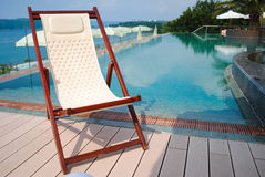 Chaise longue for a comfortable summer relax. Comfortable chaise longue for a comfortable summer relax royalty free stock photos