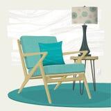 Chaise longue de sarcelle d'hiver de scène de salon et lampe de table Images stock