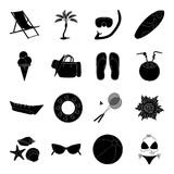 Chaise longue, ice cream, glasses items for summer holidays.Summer rest set collection icons in black style vector Stock Photos