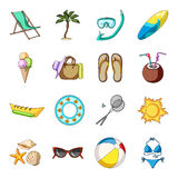 Chaise longue, ice cream, glasses items for summer holidays.Summer rest set collection icons in cartoon style vector Stock Photography