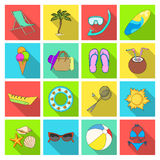 Chaise longue, ice cream, glasses items for summer holidays.Summer rest set collection icons in flat style vector symbol Stock Photo