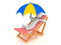 Chaise Longue, person and umbrella. 3d render of chaise longue, person and umbrella Royalty Free Stock Images