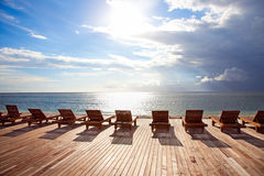 Chaise longue on Trawangan beach. Chaise longue in sunset,on Trawangan beach,Gili island, Indonesia stock photography