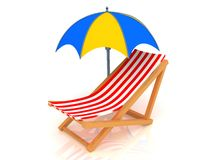 Chaise Longue and umbrella Stock Image