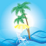 Chaise longue, umbrella and palm trees. Royalty Free Stock Photography