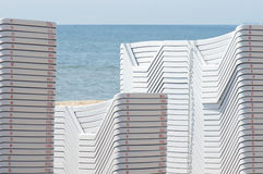 Chaise longues on the beach Royalty Free Stock Photos