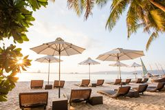 Chaise longues at the beach on the Boracay island, Philippines. Chaise longues at the beach on the Boracay island. Philippines royalty free stock photos