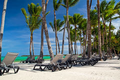 Chaise-longues on caribbean sea beach Royalty Free Stock Photography
