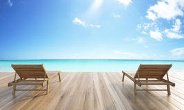 Chaise longues sea and sky Royalty Free Stock Image