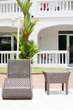 Chaise lounge. In the terrace royalty free stock photography