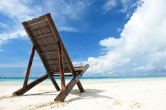 Chaise lounge at beach. Beautiful beach with chaise lounge royalty free stock photography