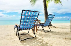 Chaise lounge at beach Royalty Free Stock Photography