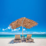 Chaise lounge on beach Royalty Free Stock Images