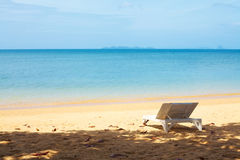 Chaise lounge on a beach. At summer day royalty free stock images