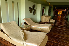 Chaise lounge chairs indoors Stock Image