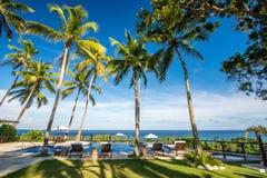 Chaise-lounge di sedia a sdraio con le palme e stagno di infinito nella Repubblica dominicana di Barahona Immagine Stock